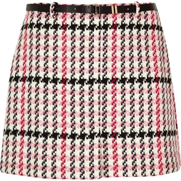River Island RI Plus pink checked belted mini skirt (2,930 DOP) ❤ liked on Polyvore featuring skirts, mini skirts, pink, women, pink miniskirt, belted mini skirt, short white skirt, plus size skirts and short skirts