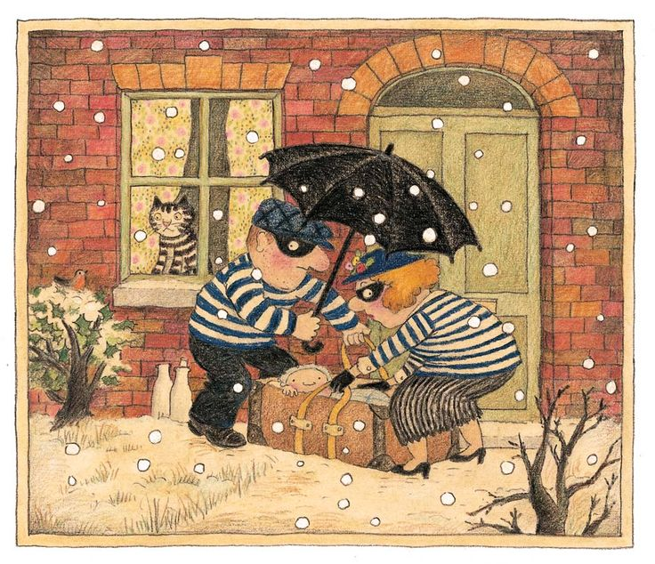 Burglar Bill and Burglar Betty with the baby in the snow. By Janet Ahlberg