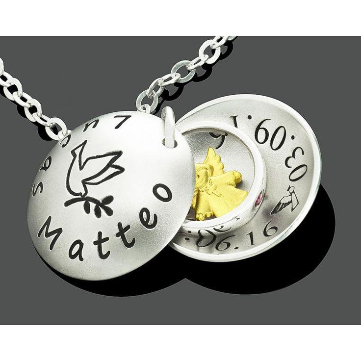 Eine wunderschöne Taufkette aus 925 Sterling Silber mit einem 925 Sterling Silber Taufring und einem schönen vergoldeten 925 Sterling Silber Engel.