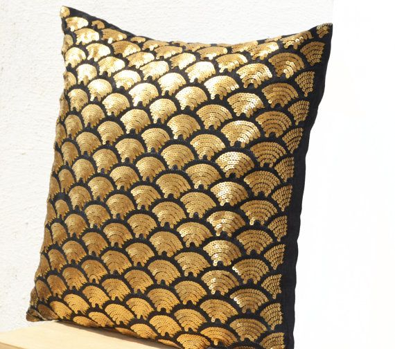 Gold sequin pillows embroidered waves - Black pillow covers - Black Gold Cushion cover zipper - Throw pillow - gift - 16x16 - Gold pillows