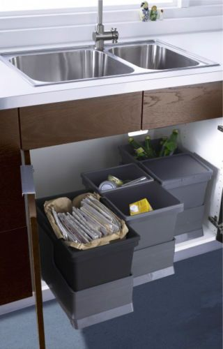 IKEA Recycling and trash  Having your recycling bins and trash can on rollout shelves in one spot makes it a snap to sort items  This is a big time saver if. 10 Best images about Kitchen   under the sink on Pinterest   Under