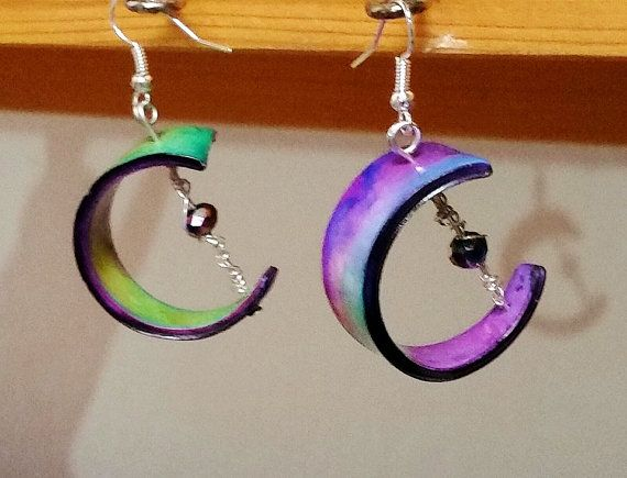 Earrings Green and purple... polymer clay unique by ImpastArte