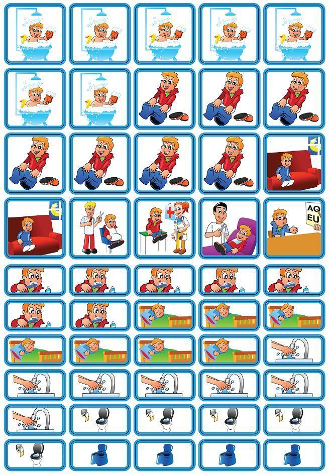 Verzorging & Slapen - 50 pictogrammen (jongen) - Peuterplanbord.nl