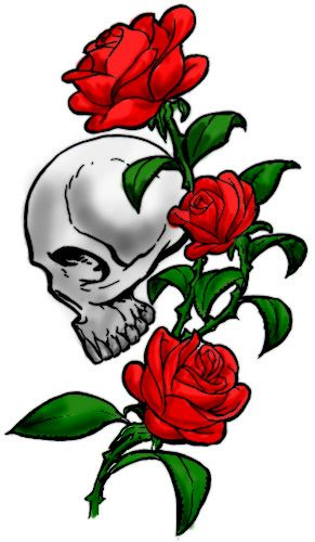 In place of the skull have it look like my butterfly tattoo is sitting there. And make the roses yellow