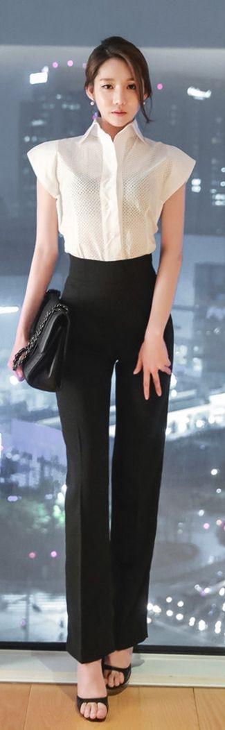 Luxe Asian Women Design Korean Model Fashion Style Vivian punching White Blouse