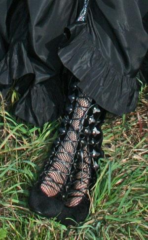 Black Velvet Lace Up Boots