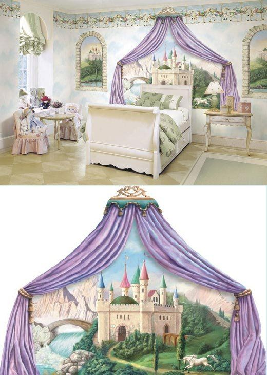 25 best ideas about princess mural on pinterest castle for Fairy castle wall mural