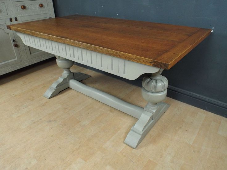 antique solid oak painted shabby chic refectory dining table ref32 in antiques antique furniture
