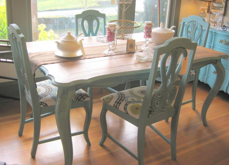 126 best images about painted dining set on pinterest for Painted kitchen chairs