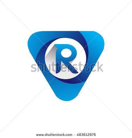 Logo letter R blue colored in the triangle shape, Vector design template…