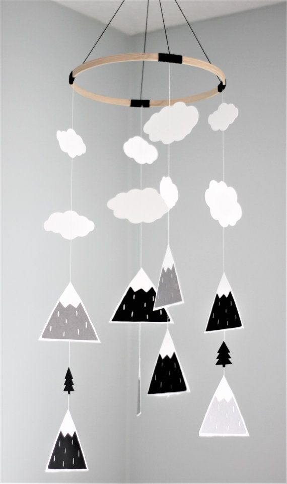 This mobile will instantly transform any standard nursery into a modern and fun one. Add some of our other mountain or tree items (link below) and your baby room will have that Scandinavian look that is so trendy right now!  Made with only the best cardstock (70-110lbs): lining and acid free, certified to come from sustainable forests.  The main hoop is 9 in diameter. For the shape, we transformed our mountain print (also linked below) into a die cut and added some hand-drawn clouds and…