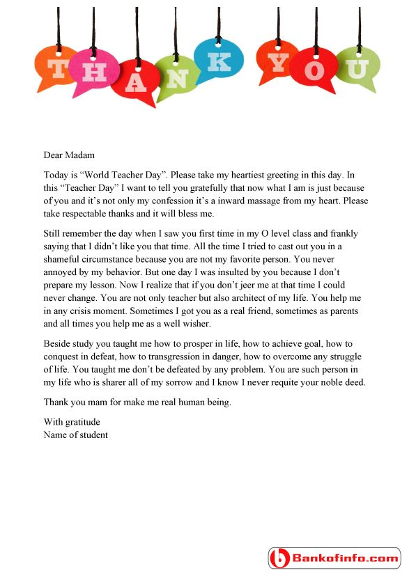 thank you letter for teacher a sample thank you letter to from student for the 25110