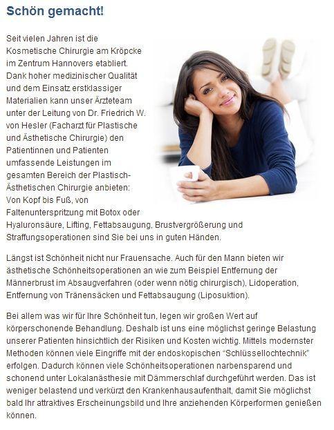 Brustvergroesserungen, Fett absaugen und Falten entfernen in Fachklinik Hannover…
