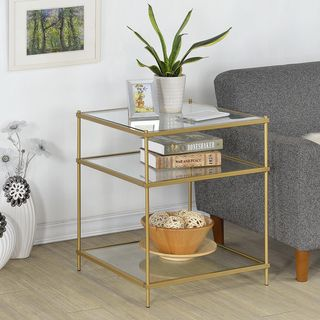 Upton Home Matte Gold Metal/ Glass Side/ End Table - 17525177 - Overstock.com Shopping - Great Deals on Upton Home Coffee, Sofa & End Tables