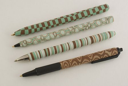 Cane-Covered Polymer Clay Pens PaperMate Comfortmate ball point pen  Bic Round Stic ball pen  PaperMate FlexGrip Elite  Bic SoftFeel Retractable ball pen