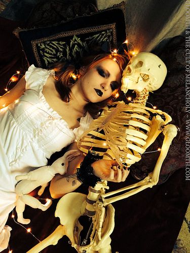 Skeleton Valentine by gloomth, via Flickr Goth girl napping with a real skeleton!