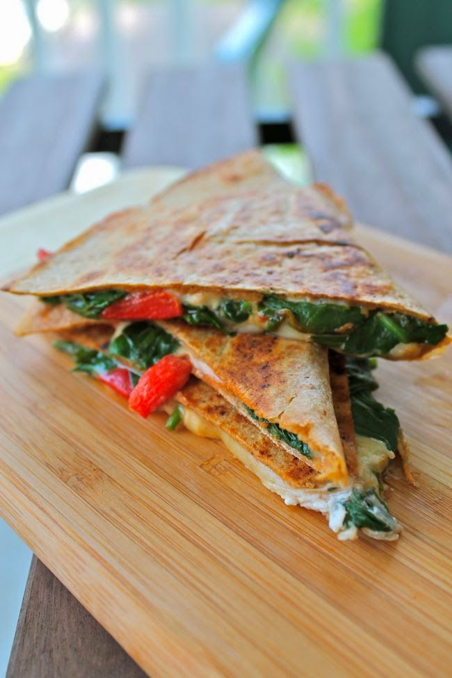 Roasted Red Pepper, Spinach, and Goat Cheese Quesadillas #vegetarian #recipe