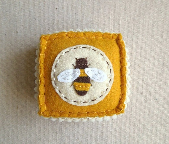 Embroidered Honey Bee Felt Pincushion, so cute, from SeaPinks on Etsy