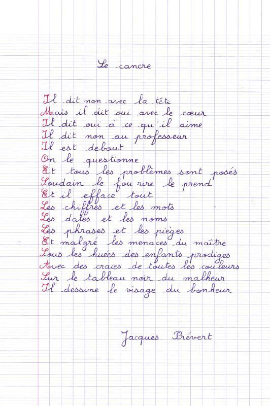 poème de Jacques Prévert : le cancre