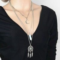 2016 New Arrival Hot European Fashion Multilayer Long Chain Silver Plated Moon Sweater Pendant Necklace