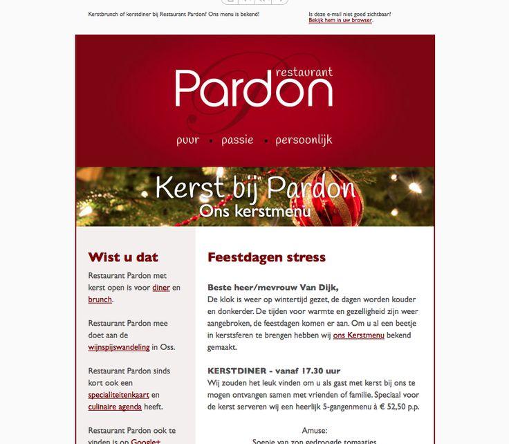 Nieuw ontwerp voor de nieuwsbrief van Restaurant Pardon Oss - www.restaurantpardon.nl - #newsletter #emailmarketing #design #3AMI