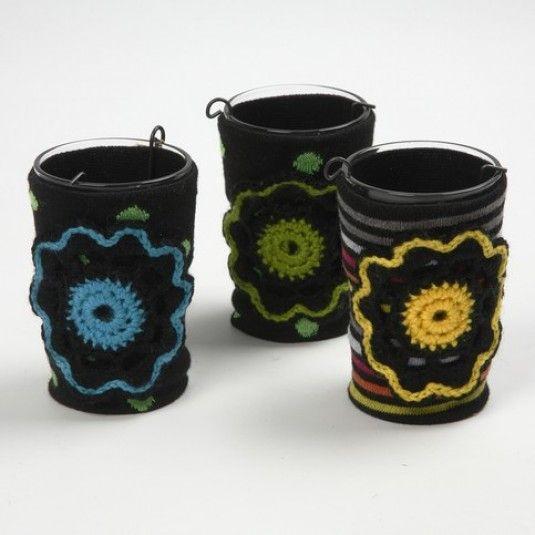 Ljusglas med strumpdekor