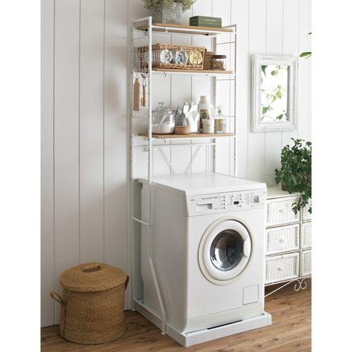癒しの洗面所空間に。木製棚板の北欧風ナチュラルランドリーラック 棚3段 【洗濯機ラック・洗濯機上棚】 写真1