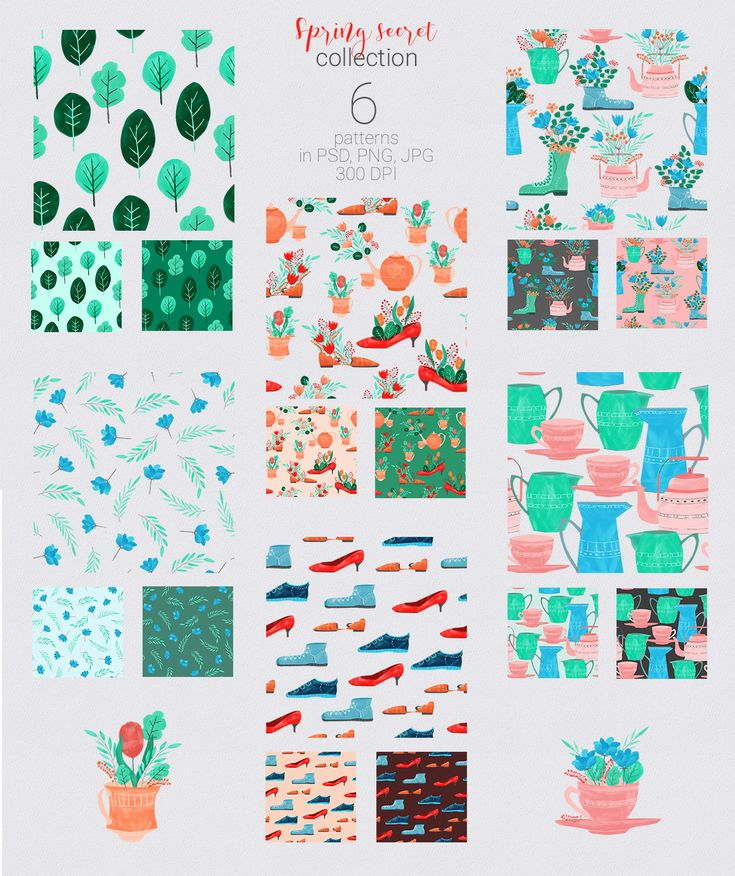 #Spring Secret Collection: 42 elements in PNG | #pattern