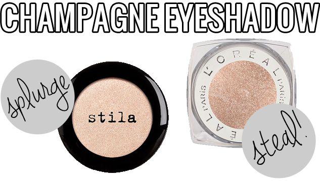 makeup dupes, Splurge Steal beauty champagne eyeshadow, Stila Kitten vs. L'Oreal Iced Latte, Stila Kitten Dupe