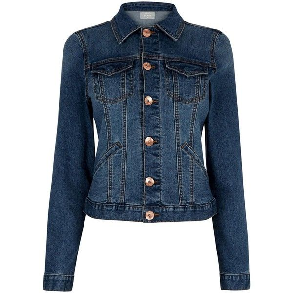 Oasis Willow Denim Jacket (£45) ❤ liked on Polyvore featuring outerwear, jackets, women coats & jackets, oasis jackets, blue jackets, blue jean jacket, jean jackets and denim jacket