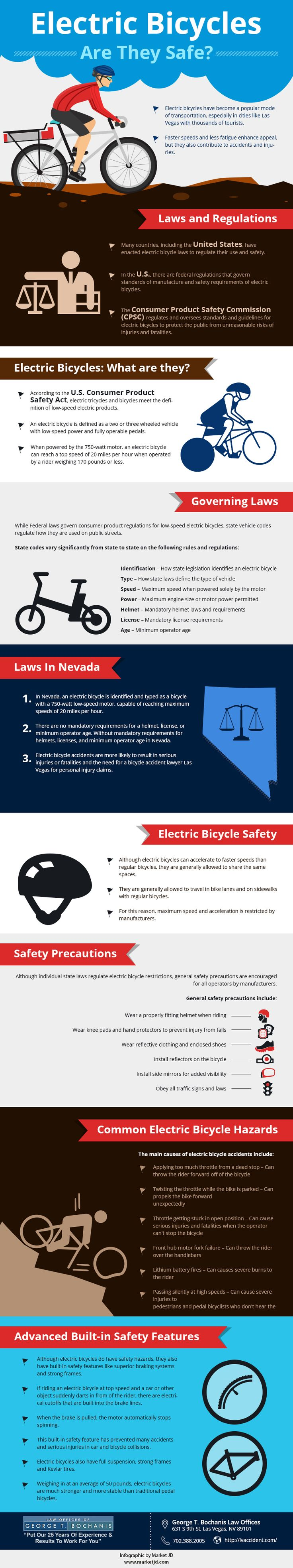 Electric bicycles have become a popular mode of transportation, especially in cities like Las Vegas with thousands of tourists. Faster speeds and less fatigue enhance appeal, but they also contribute to accidents and injuries. For bicycle accidents in Las Vegas, a bicycle accident lawyer Las Vegas may be necessary for personal injury claims. For more details visit: http://lvaccident.com/