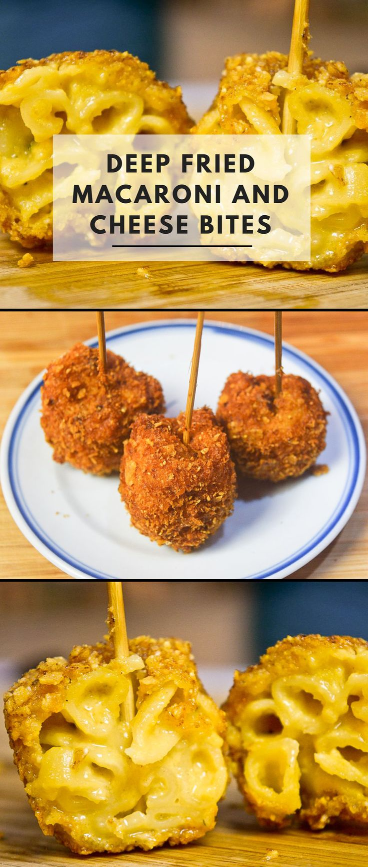Deep fried macaroni and cheese is the pièce de résistance in the world of gluttonous snacks. The crispy golden exterior crunches down like the jaws of a Great White Shark on the supple leg of creamy smooth macaroni and cheese. It's horrifyingly good.