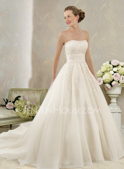 Wedding Dresses - $221.99 - Gorgeous Ball-Gown Strapless Chapel Train Satin Tulle Wedding Dress With Ruffle Lace (002004149) jenjenhouse.com