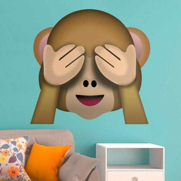 Adesivi Murali: scimmiette non vedono #vinili #emoji #emoticon #decorazione #muro #parete #faccias #StickersMurali