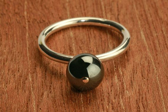 ON SALE silver ring with hematite gemstone by bvjewelry on Etsy, $52.00