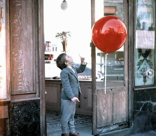 "The Red Balloon.  Z's favorite movie right now... Love it going to go pick up a 36"" red balloon one afternoon and surprise her."