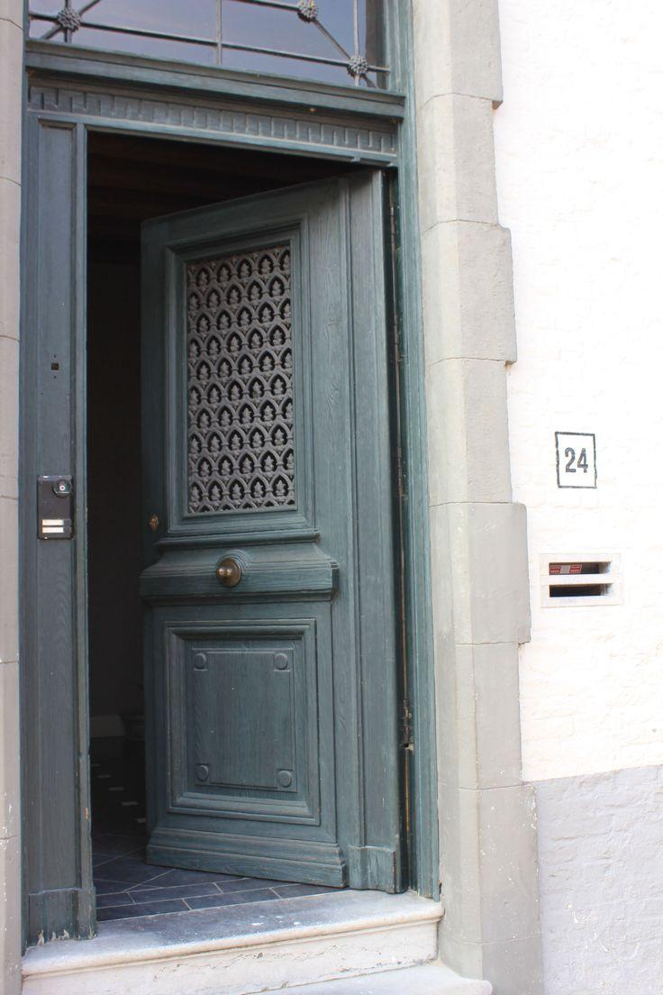 Door Number 2 Is Greying Green Number 24 U2014 In Bruges, Belgium.