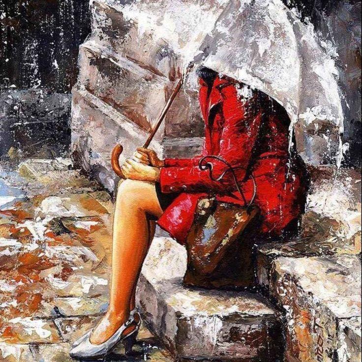 Mulher em dia chuvoso