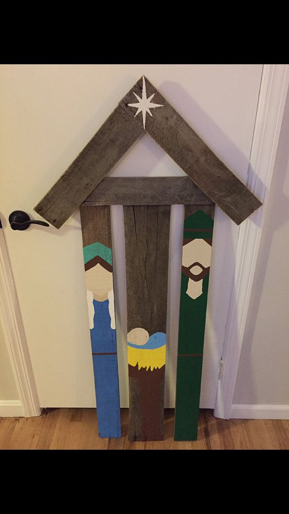 Reclaimed pallet wood nativity scene. Handmade and Hand painted. Can use for outdoor decoration or in home decor. This product is made to order. If youd like the painted sceme to be different colors, message at the time of purchase. Dimensions 52 in tall, 22in width. about 2 inch deep. *** When this item is shipped, due to the cost of the shipping and the height of this product, It will be shipped in 2 seperate pieces. They will both be in the same package, But the upper part will not be…