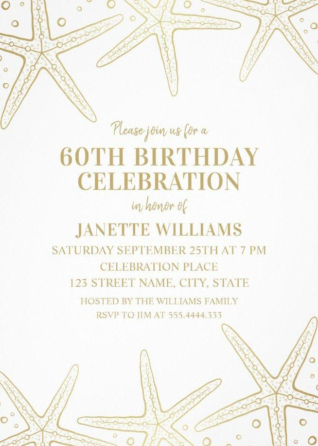 Nautical Adult 60th Birthday Invitations Golden Starfish Invite