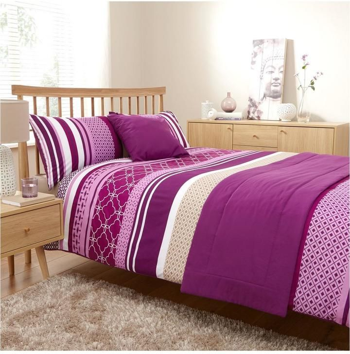Venice Bed in a Bag in Double and King Sizes – Pink/Purple. Accentuating the vibrant stripes of the duvet cover and pillowcases with a plain purple runner and cushion cover, the Venice Bed in a Bag is a great value way to give your space a bright new look. // Home Decoration Ideas #affiliate