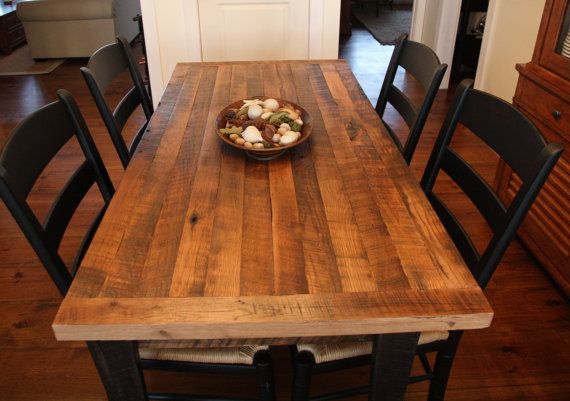 "Farm Table, Clear Finish Butcher Block Top and Skirting, with Ebony Legs, 64x32 30"" tall, All made from reclaimed barn wood. $695.00, via Etsy."