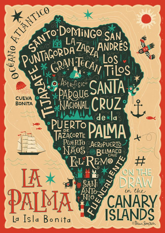 #ONTHEDRAW | La Palma por Steve Simpson #LaPalma #Ilustración (Travel Ideas Map)