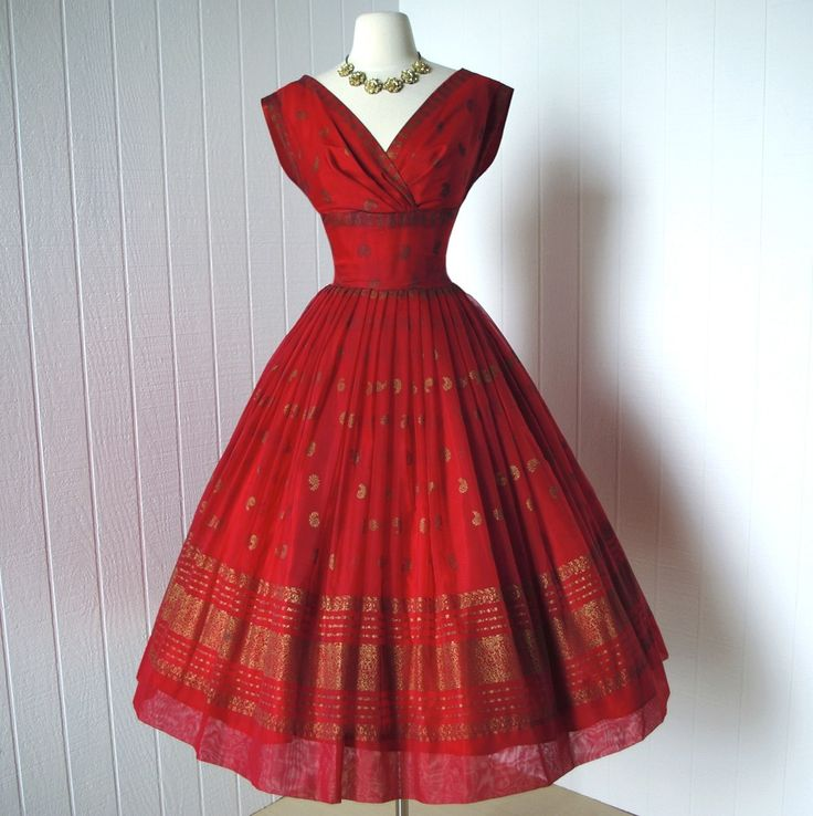 vintage 1950s dress  ...festive dance originals FRED PERLBERG red chiffon with metallic gold screened eastern print full party dress skirt dress