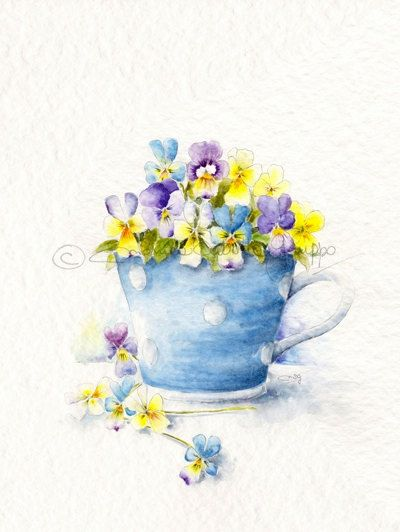 Pansies!!!! My Grandma Lorraine's Favorite!!!Watercolor Art Print Watercolor Painting by thewhitebenchart