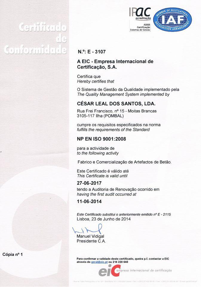 Certificado de Conformidade, qualidade, manilhas em concreto, artefactos de cimento, fabrica de manilhas de betao, fabrica de tubos de saneamento, Certificação de Conformidade,