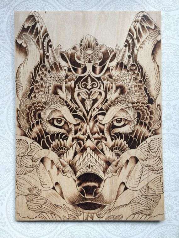 The leader of the pack. Wood burned Wolf by TimberleePyrography