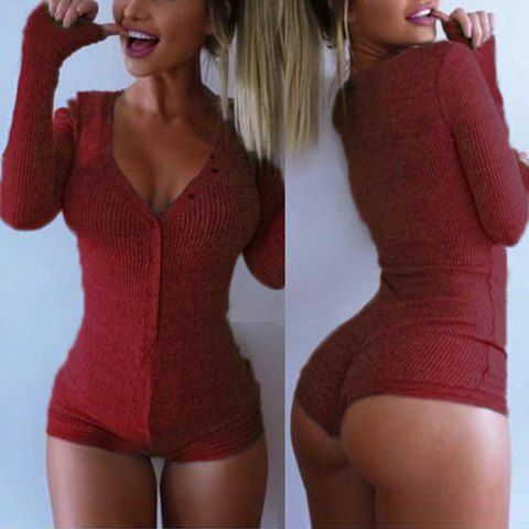 Stylish Solid Color V-Neck Long Sleeve Sheathy Knitted Bodysuit For Women