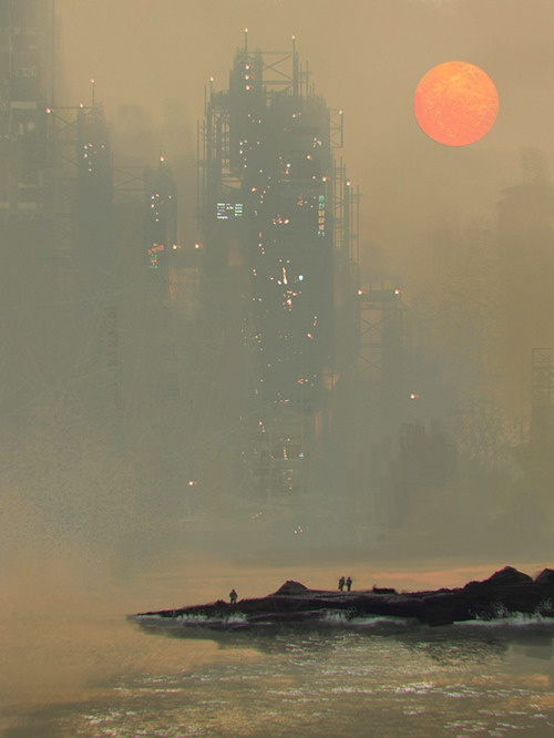 People standing at a coastline in a futuristic city.
