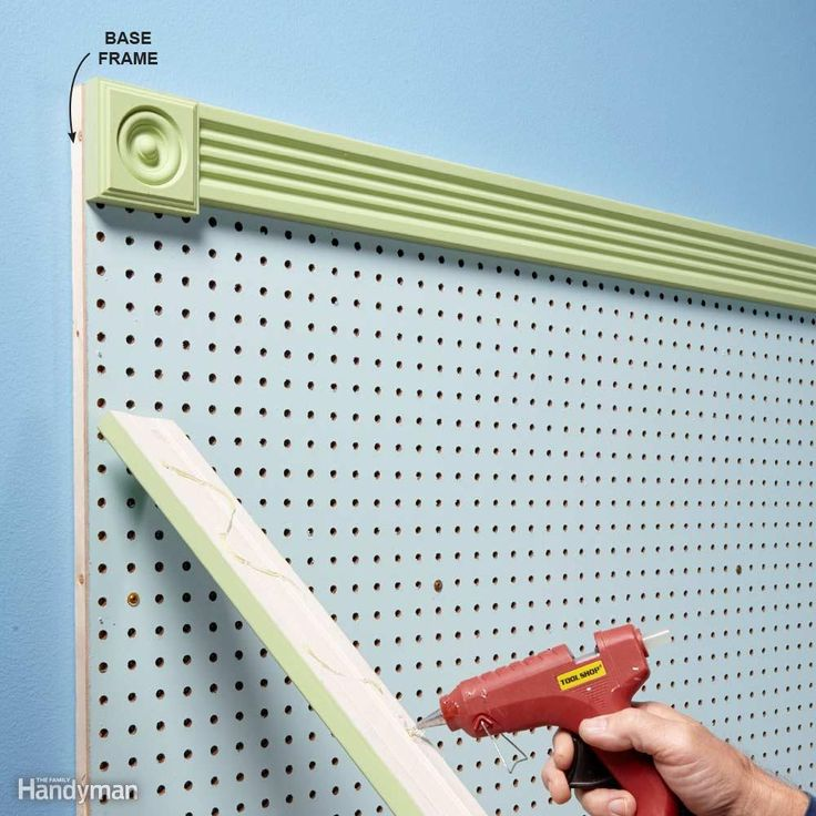 Dress Up Pegboard - Roll on a coat of primer followed by gloss or semigloss paint (easier to wipe clean). Use light coats so you don't clog the holes. You can even add a frame. Here, 1x3 trim and corner blocks were attached with hot-melt glue - quick, and no miter cuts needed.